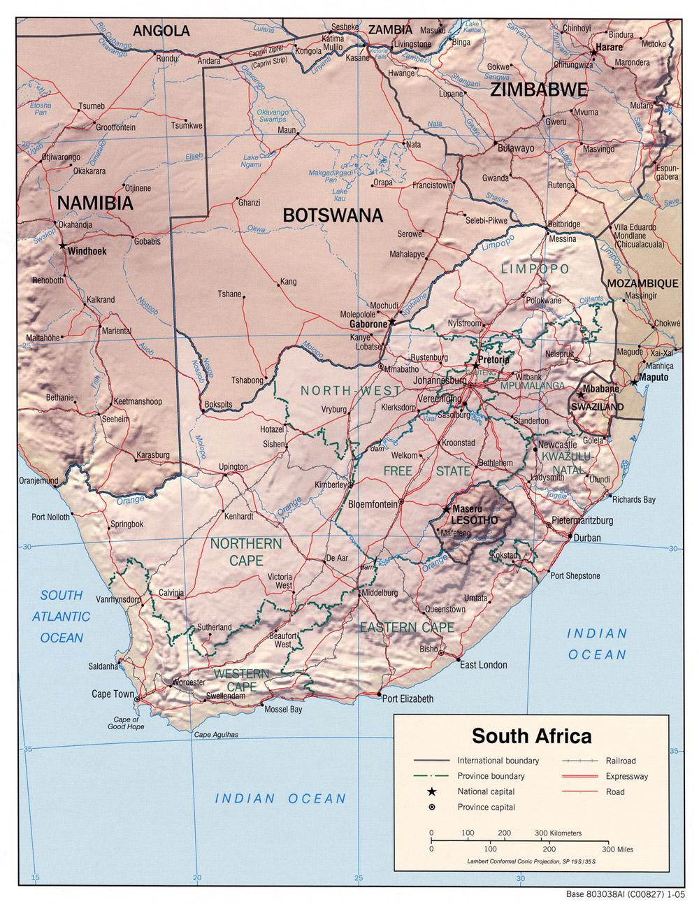 Carte géopolitique de la Afrique du Sud