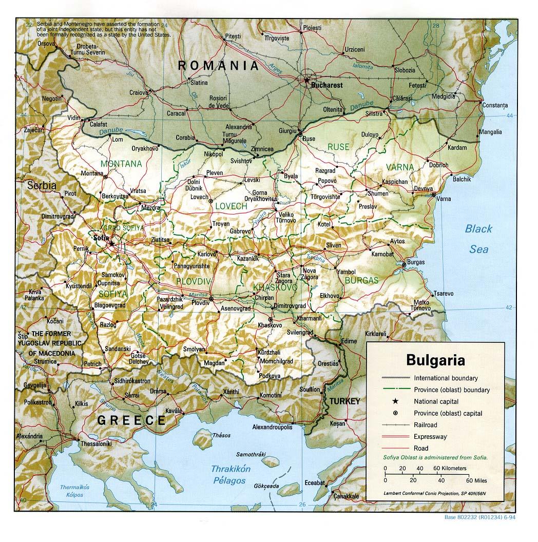 Carte géopolitique de la Bulgarie