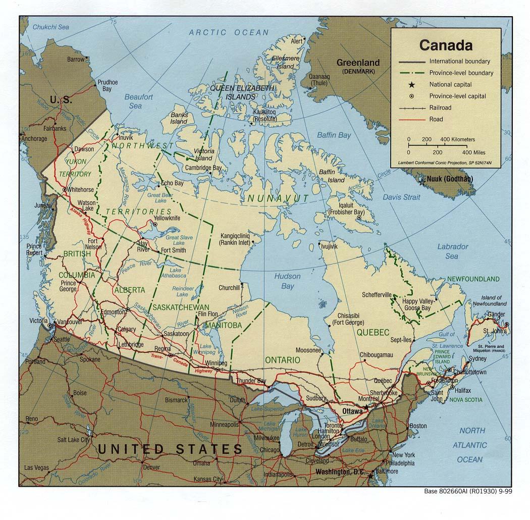 Carte géopolitique du Canada