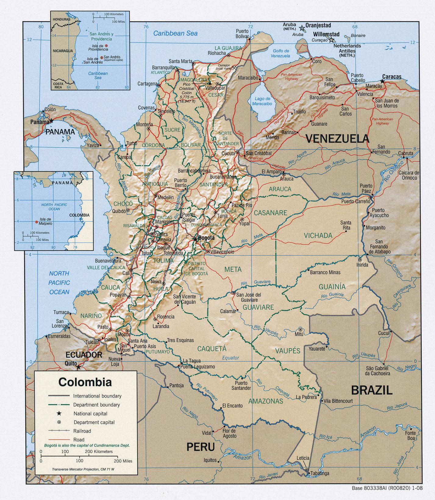 Carte géopolitique de la Colombie