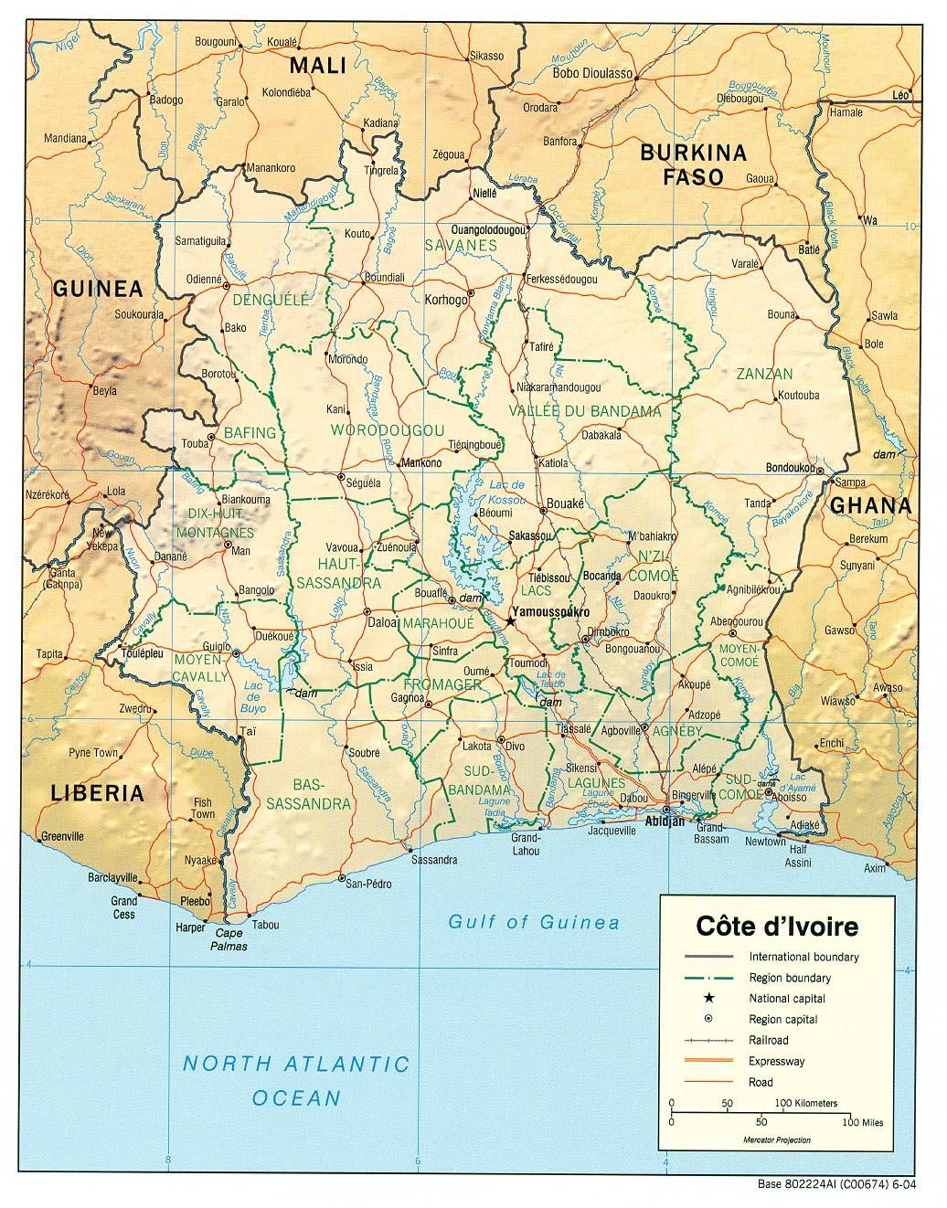 Carte géopolitique de Côte d'Ivoire