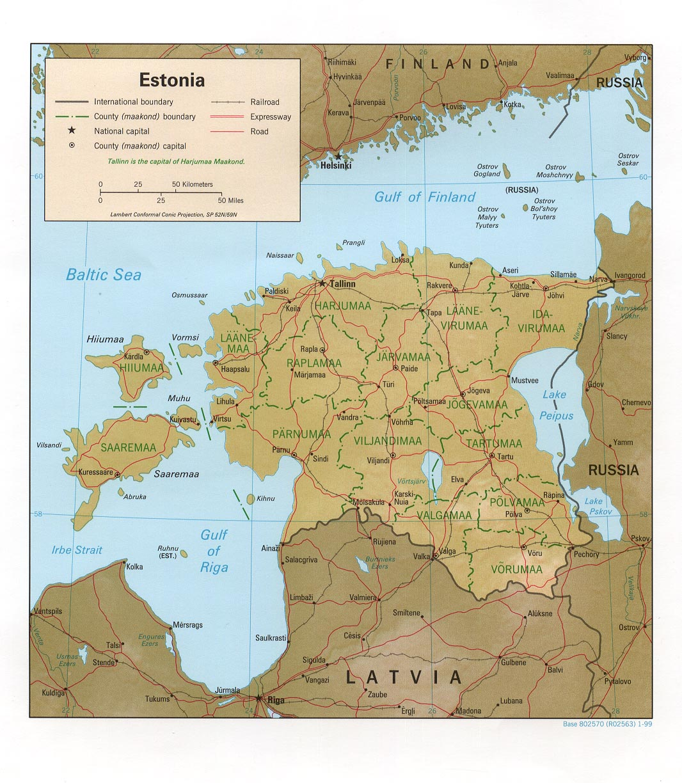 Carte géopolitique de l'Estonie