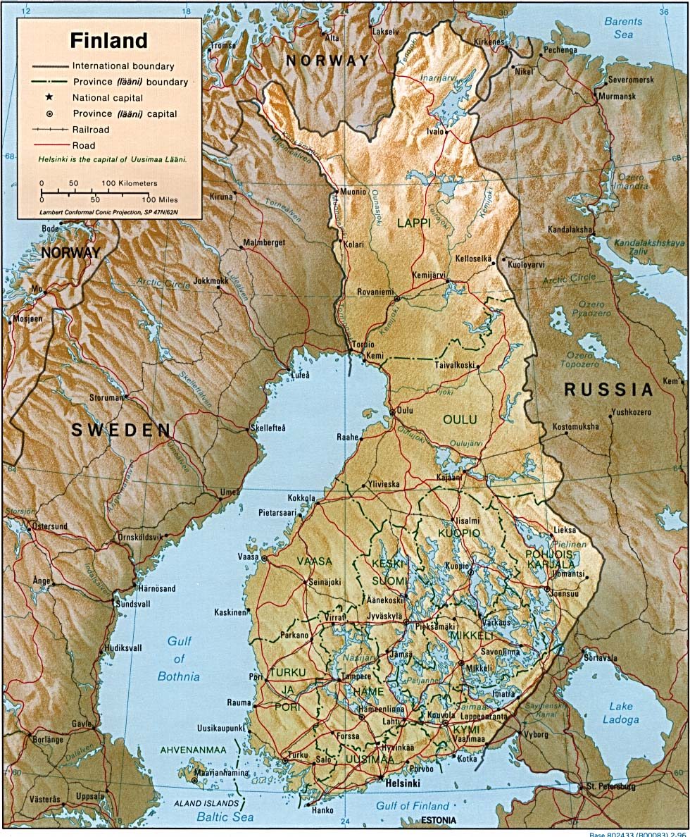 Carte géopolitique de la Finlande