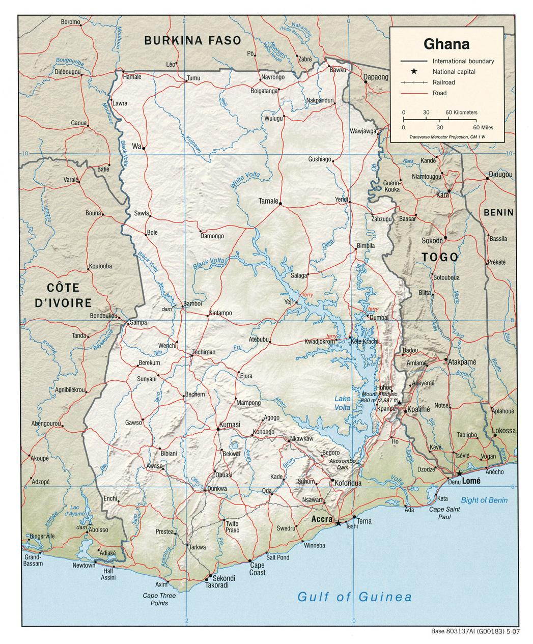 Carte géopolitique du Ghana