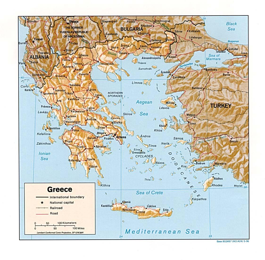 Carte géopolitique de Grèce