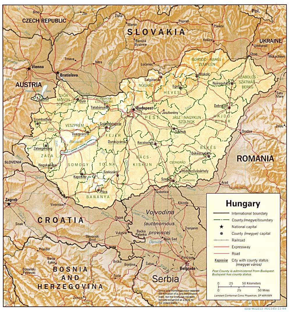 Carte géopolitique de la Hongrie