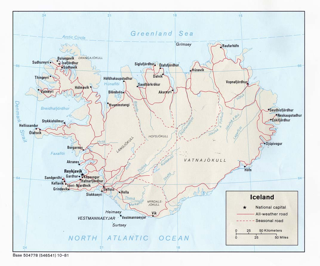 Carte géopolitique de l'Islande