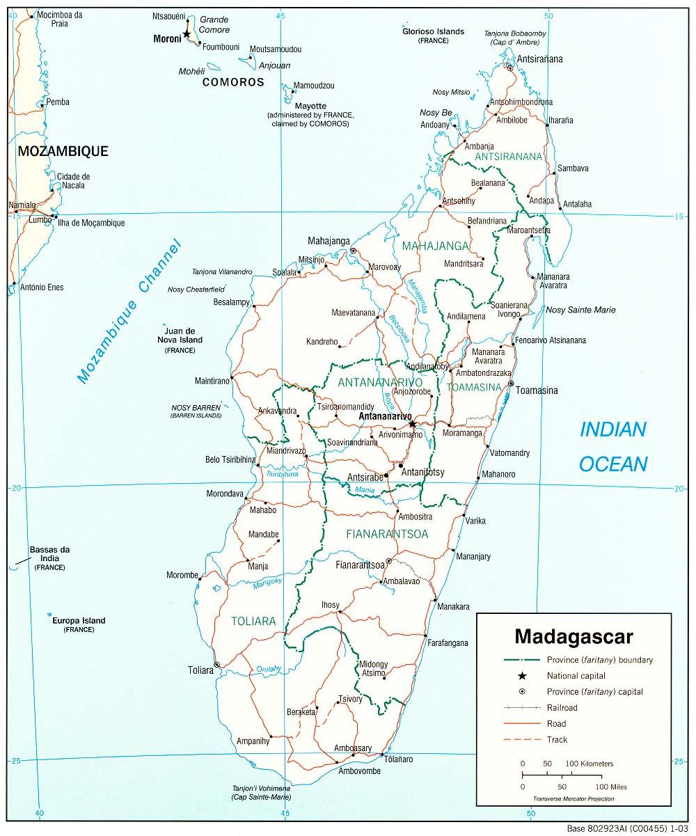 Carte géopolitique de Madagascar