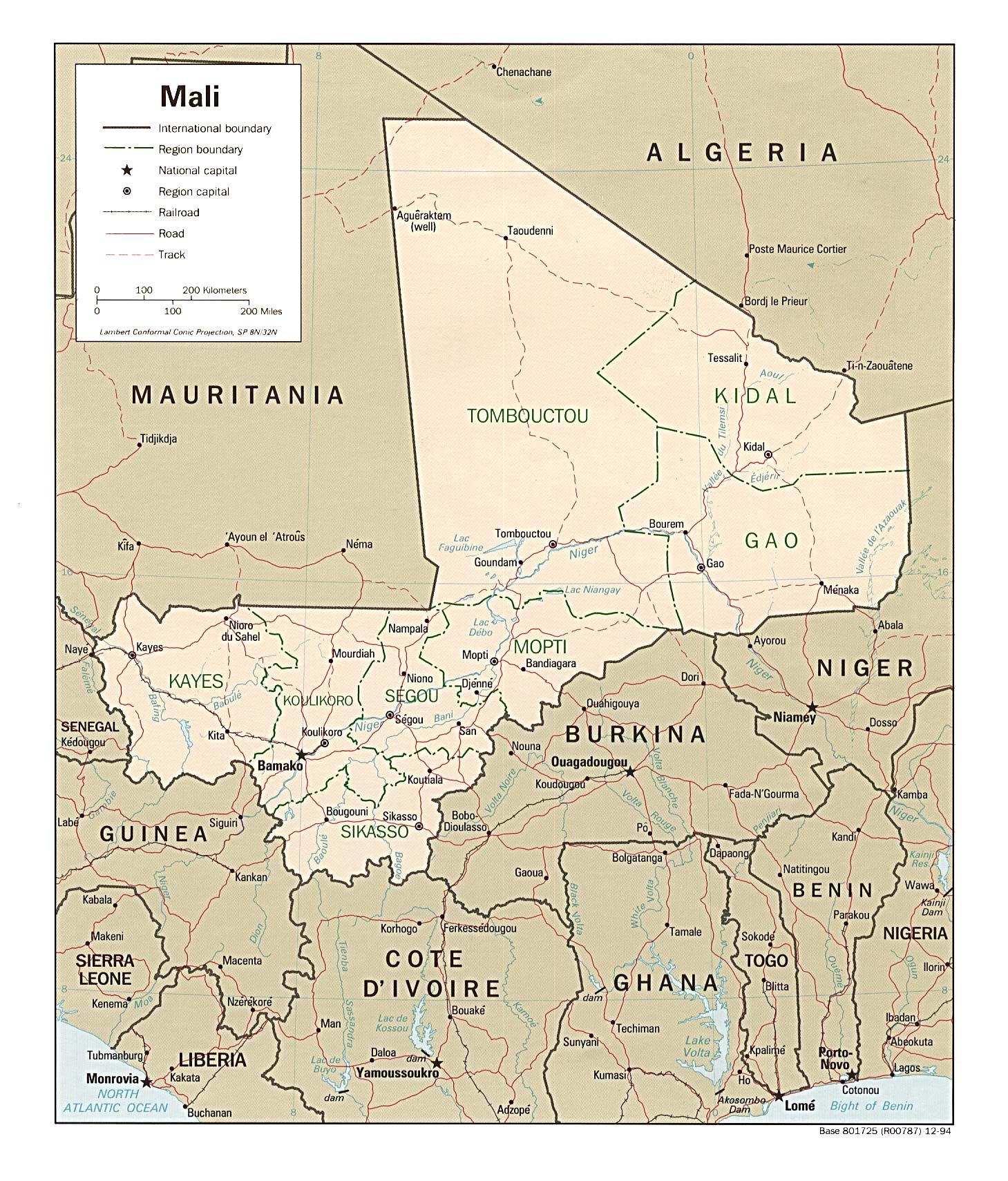 Carte géopolitique du Mali