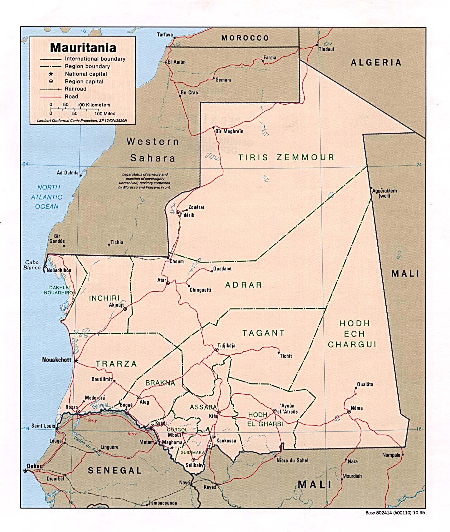Carte géopolitique de la Mauritanie