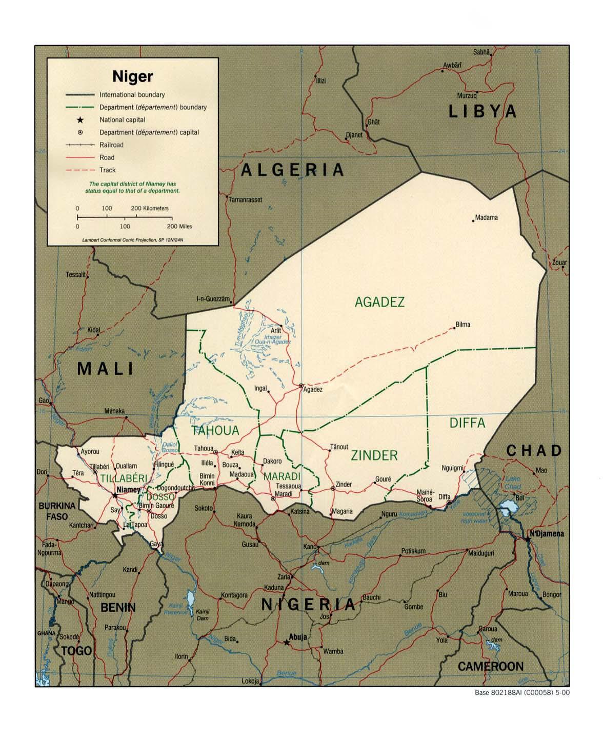 Carte géopolitique du Niger