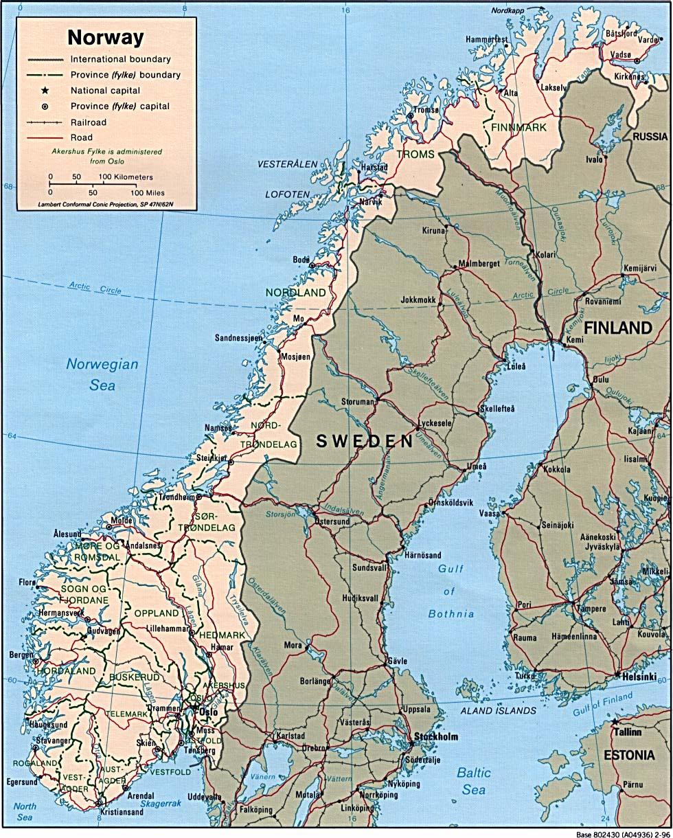Carte géopolitique de la Norvège