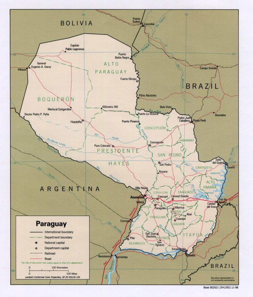 Carte géopolitique du Paraguay