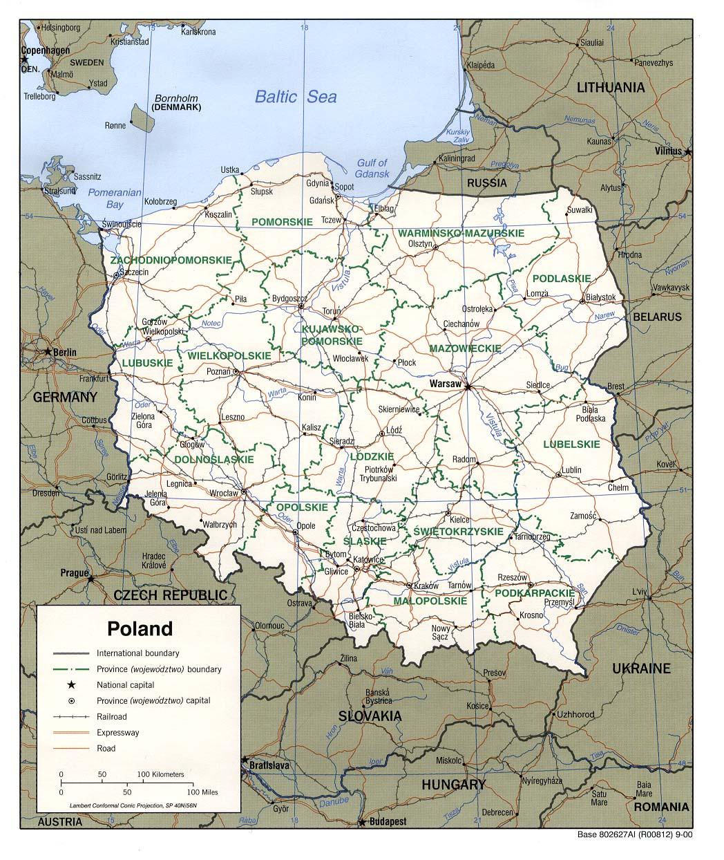 Carte géopolitique de la Pologne