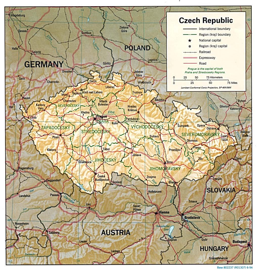 Carte géopolitique de République tchèque