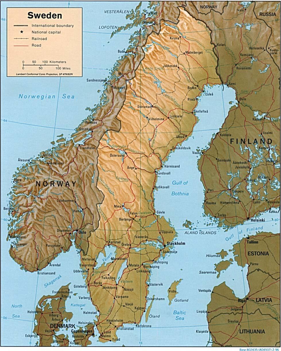 Carte géopolitique de la Suède