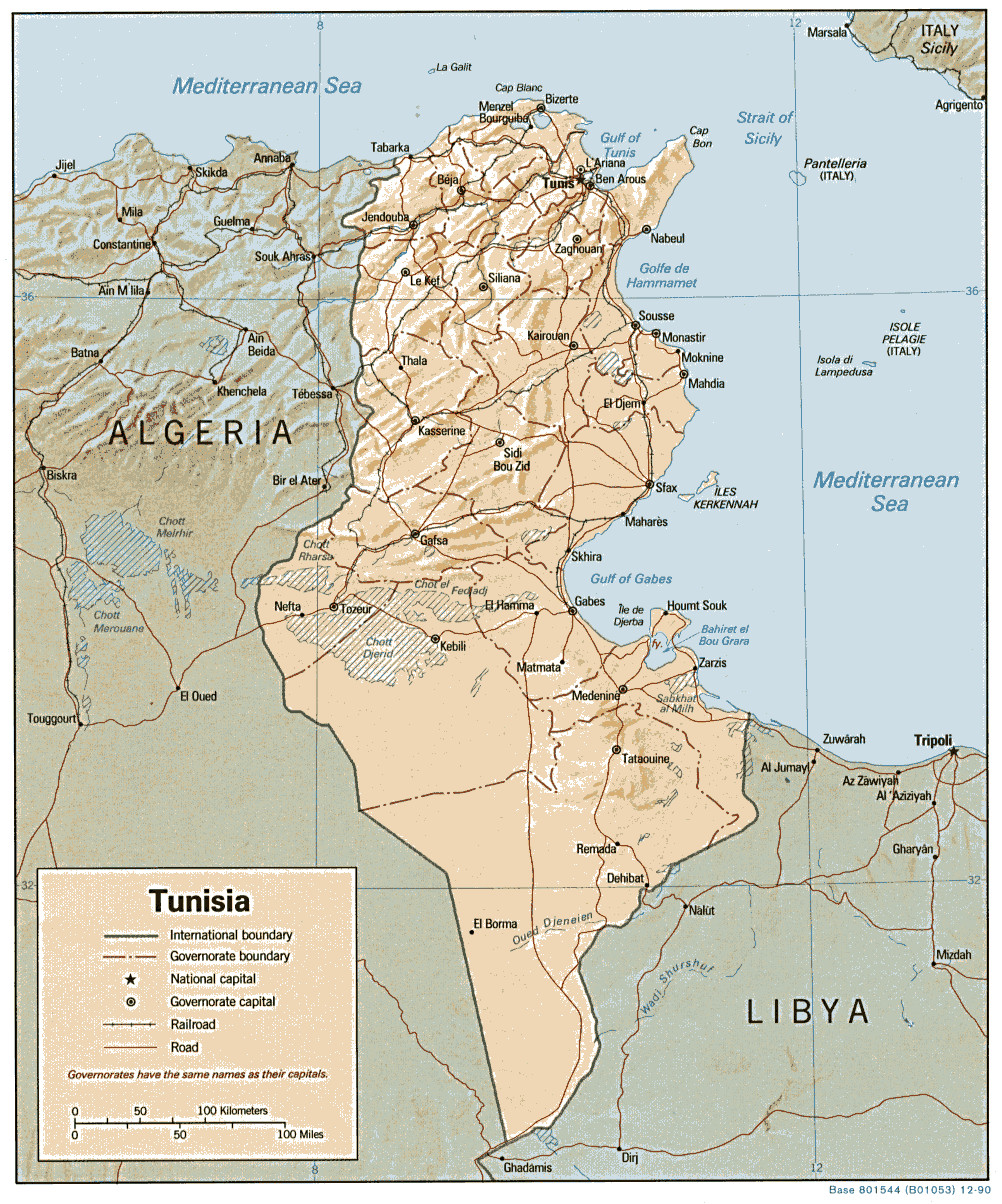 Carte géopolitique de la Tunisie