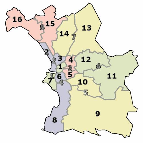 Carte des arrondissments et des secteurs de Marseille